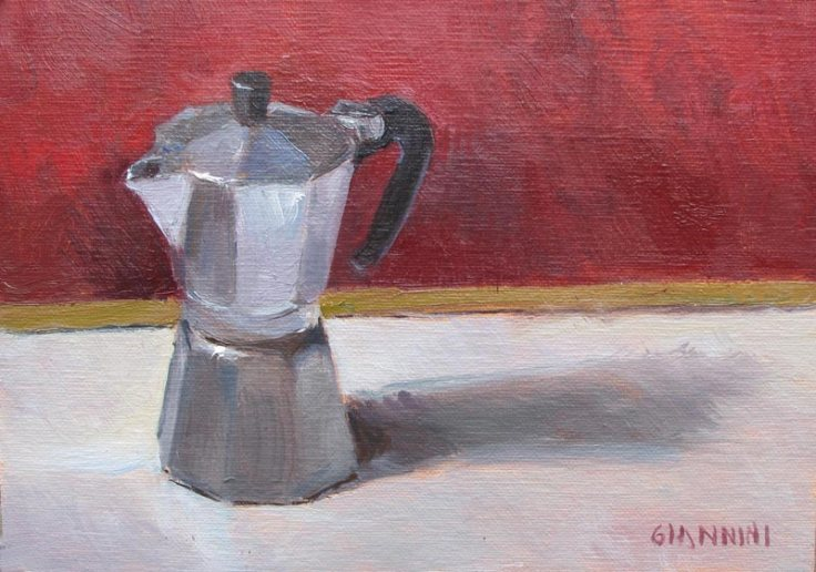 Espresso Maker, 5 x 7 in. Oil on Linen, framed view