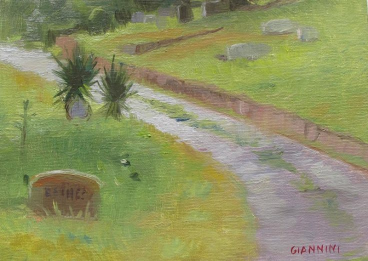 Cemetery Path, 5 x 7 in., Oil on Linen